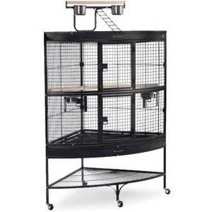 Corner Bird Cage for Large Birds by Prevue 3158 Black