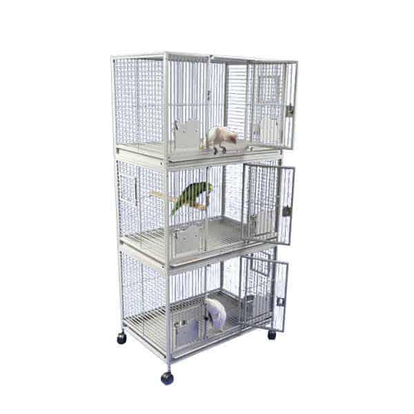 Breeder Bird Cage Triple Stack for 3 Medium Parrots by AE 3624-3 Platinum