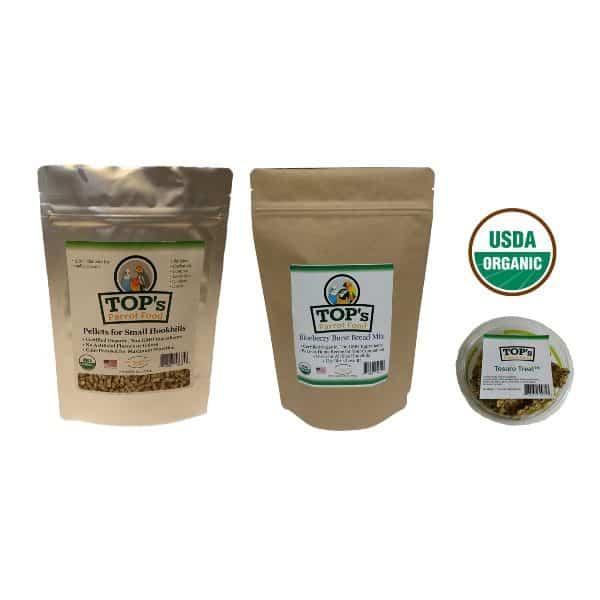 This Small Bird Bundle Boxcontains: A 3lb. bag of TOP's Small Parrot Pellets, 12 oz. bag of TOP's Small Parrot Pellets, 1 bag of Premium Birdie Bread Mix and a Tesoro Treat