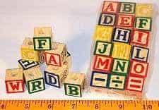 Wood ABC Blocks, Medium Set, 18 pc for Bird Toys