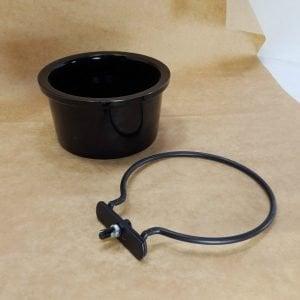 Ceramic Bird Cage Crock And Mounting Ring 6401 14 oz Black