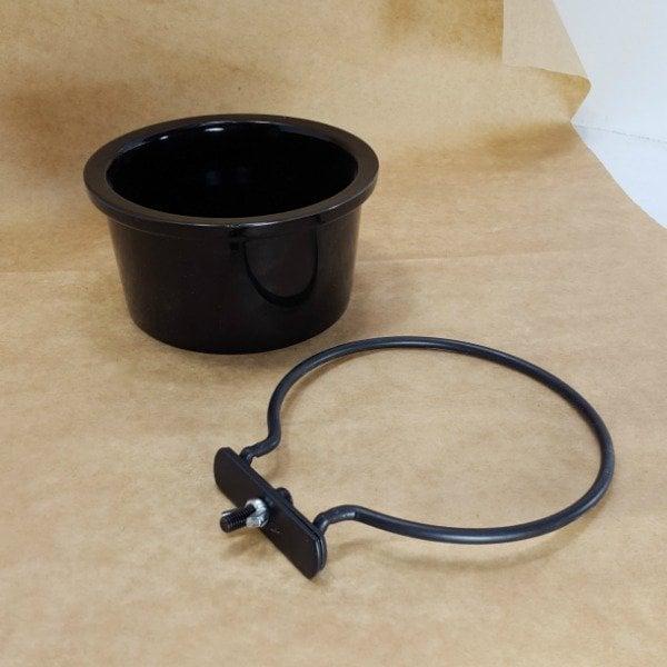 Ceramic Bird Cage Crock And Mounting Ring 14 oz Black