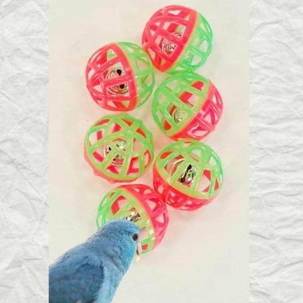 Lattice Balls w Ringing Bells that Make Great Bird Toys 3 pc