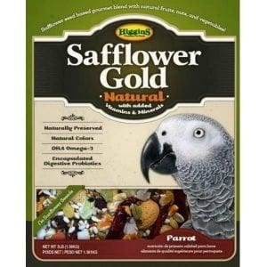 Higgins Safflower Gold Parrot Size No Sunflower 25 lb