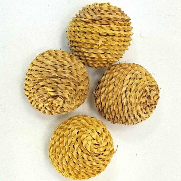 Munchie Braided Palm Leaf Balls For Birds 2 pc