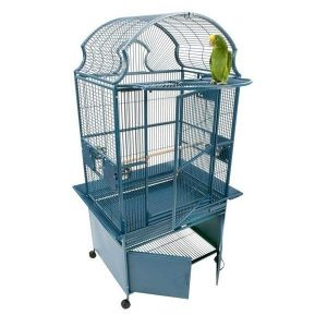 Elegant Top Bird Cage & Storage Base Cabinet by AE RY2422 Platinum