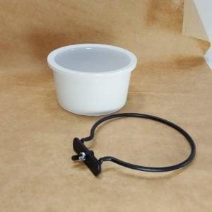 Ceramic Bird Cage Crock And Mounting Ring  6401 14 oz White